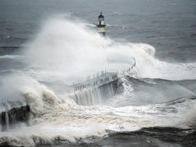 Waves crash into the sea wall at Seaham Harbour as Leon predicts parts of the UK are braced for further flooding