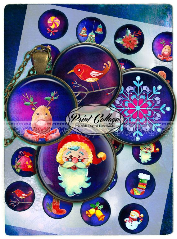 Cabochon images Digital Printable Sheets Printable images 1.5inch 1inch 18,14mm round images Instant download Winter Christmas c215 - pinned by pin4etsy.com