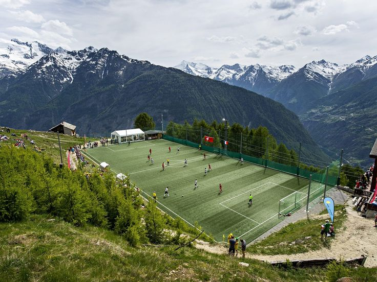 Ottmar Hitzfeld Gspon Arena - Switzerland  At over 2,000 metres above sea level the Gspon Arena is the highest pitch in Europe.  Fans get to take in the beautiful backdrop of the Swiss Alps with the only access to the pitch via cable-car.