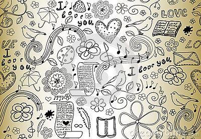 Modello senza cuciture di vettore astratto con le parole di amore, dei libri, delle note di musica, dei fiori e dei cuori, scritt