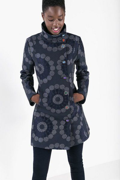 Desigual Straight-cut high neck coat. Discover coats ready to take on winter!
