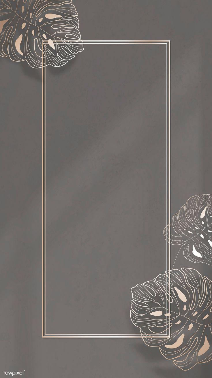 Download premium illustration of Gold frame with monstera leaf pattern