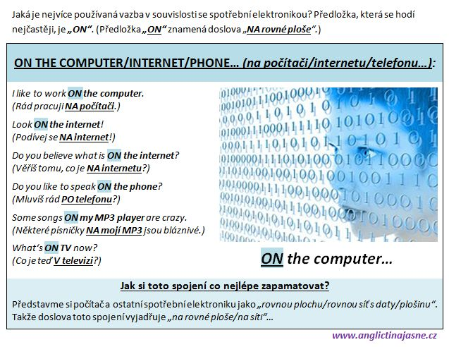"""Jaká anglická předložka se nejvíce používá ve spojitosti se spotřební elektronikou? Jak říci anglicky """"na počítači"""", """"v televizi"""", """"na mobilu"""", atd.?"""