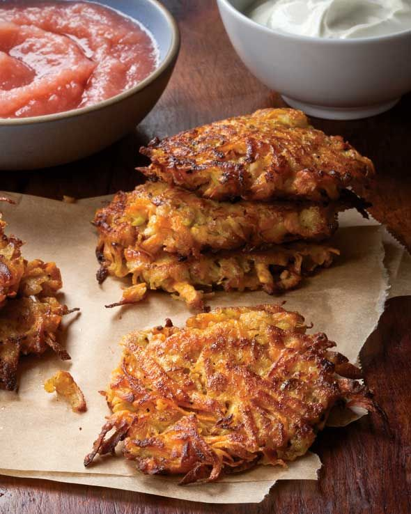 yummy treat for the fall and winter holidays....Sweet Potato and Apple Latkes...pretty easy to convert to organic too