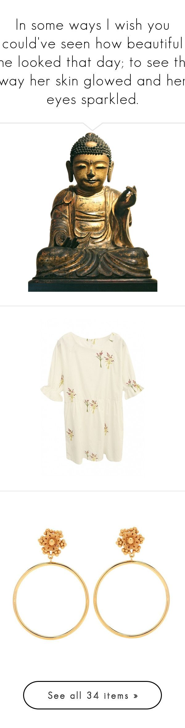 """In some ways I wish you could've seen how beautiful she looked that day; to see the way her skin glowed and her eyes sparkled."" by likedeadroses ❤ liked on Polyvore featuring home, home decor, fillers, buddha, decor, extras, buddha home decor, buddha figure, buddha figurines and dresses"