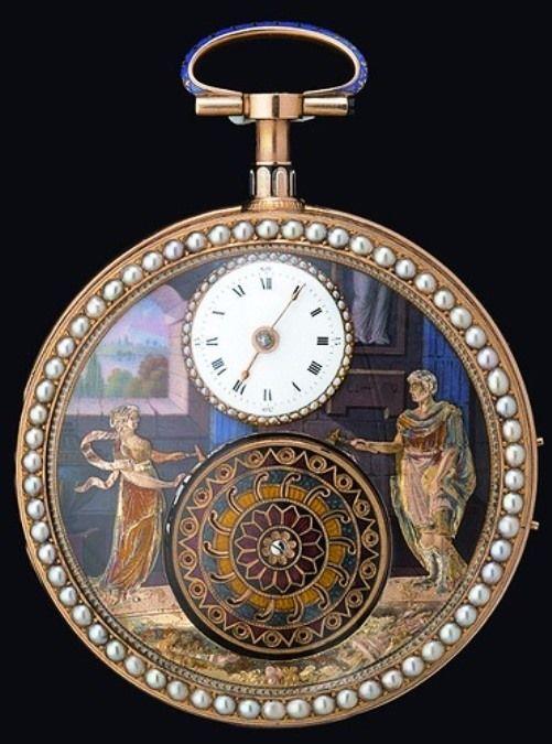 """Clock Hourglass Time:  """"La Cueillette des Cerises"""" chiming #watch, by Fabergé, 1800."""