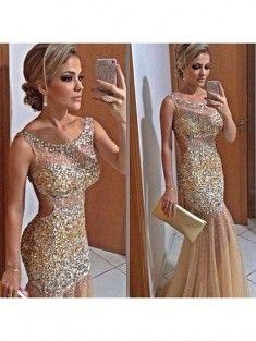 Trumpet/Mermaid Straps Sleeveless Sequin Floor-Length Net Prom Dress