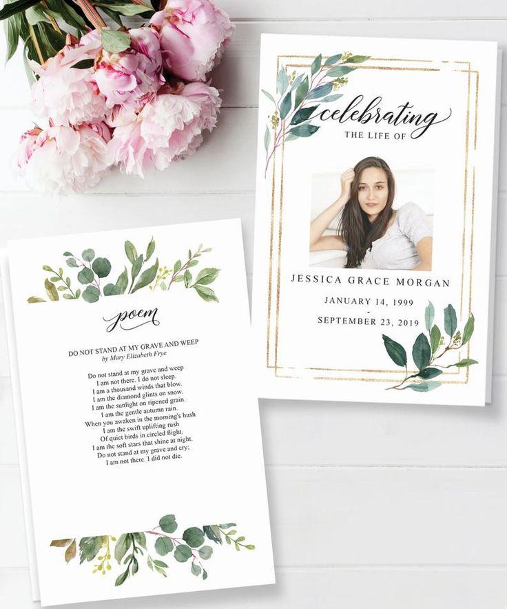 Funeral program template printable celebration of life