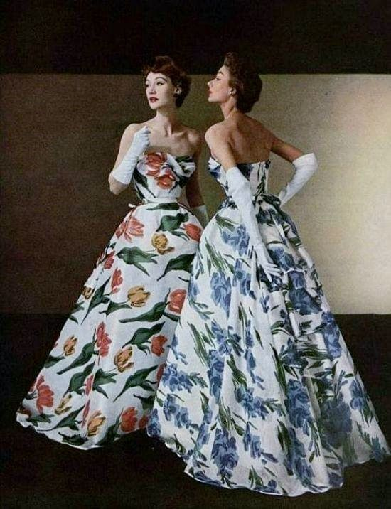 Vintage Christian Dior gowns.. Spring, 1953.