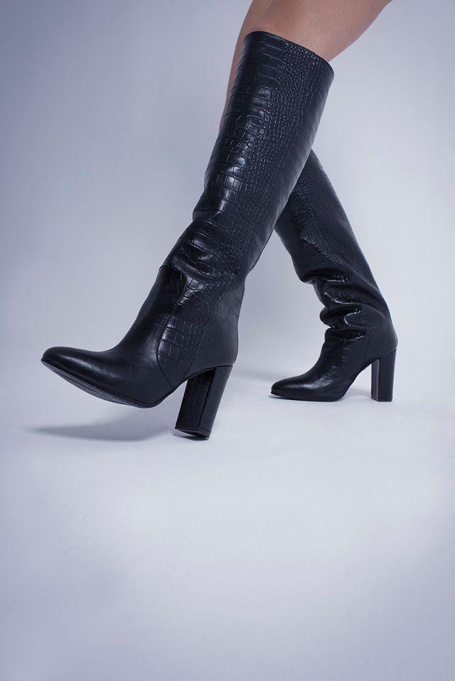 NOTABENE BRIGITTE BLACK CROCO in 2020   Boots, Heels, Womens