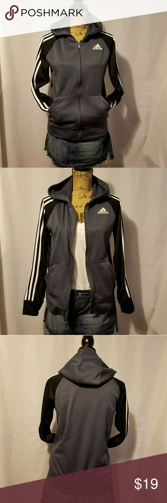 Adidas zip up jackets. Adidas zip up jacket.Size large for junior.fits small to medium womans.Color gray,black and white.Used some sign of wear on the cloth,seen on the pictures.Make an offer. adidas Jackets & Coats