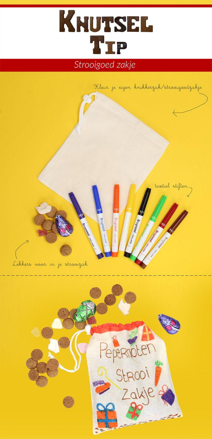 Strooizakje voor pepernoten en snoepgoed! Stevige blanco katoenen zak (linnen tasje) om zelf inkleuren of te versieren met textielstiften of textielverf. Ook handig als strooigoedzakje voor de Sinterklaasintocht.