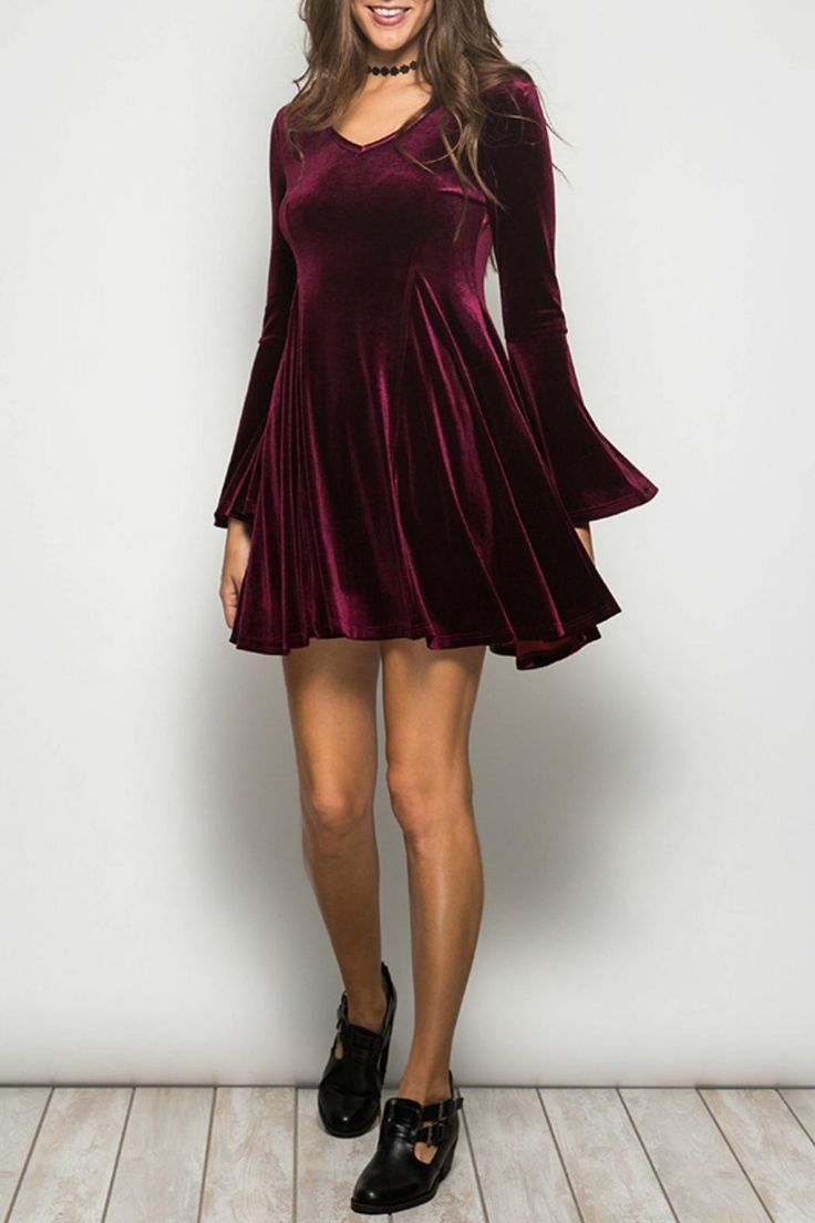 V-neck velvet mini dress has bell sleeves and is super cozy! The color is a beautiful deep wine. Can be dressed up with heels or down with tights and boots. An awesome dress for any holiday party!   Velvet Party Dress by Ya Los Angeles. Clothing - Dresses Boston, Massachusetts