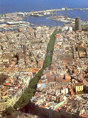 Las Ramblas  Barcelona. Vista pajaro toda la linea verde