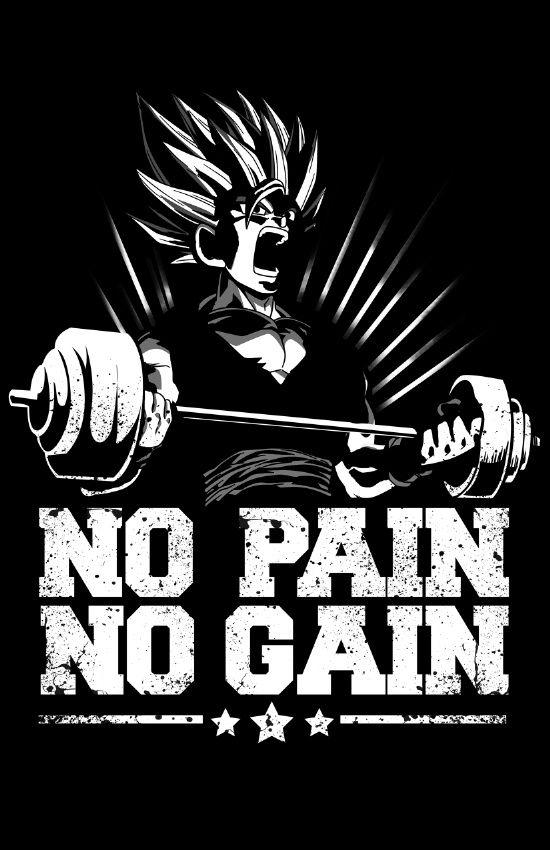 no pain no gain saiyan gym Art Print