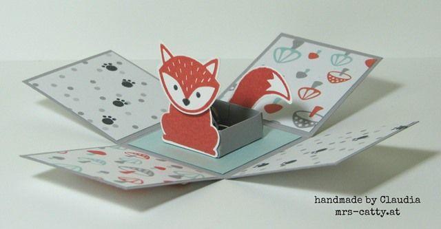 Mini-Explosionsbox, exploding box, Foxy Friends, Stampin`Up!