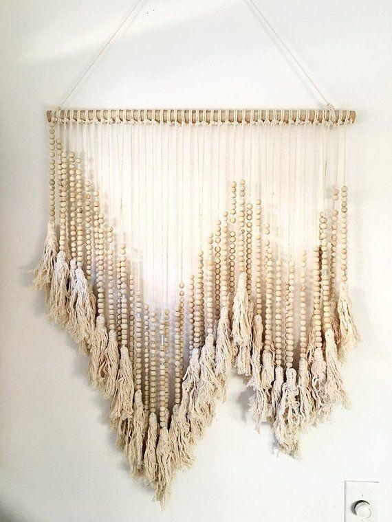 Handmade And Handwoven Bali Beaded Wall Art Neutral On Jute Wall Art Hand Weaving Bali Bead