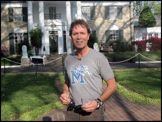 English Pop Star Cliff Richard Visits Graceland....... Sir Cliff Richard,OBE - British pop,rock,ccm,musican,actor Started his music career in the style of the King of rock 'n' roll Elvis Presley.Cliff love's best the music genre - Gospel,just like Elvis Presley and Larry Norman. In a 1985 Rockspell show on the BBC Sir Cliff give's merit to the pioneer of gospel rock, guest Larry Norman.