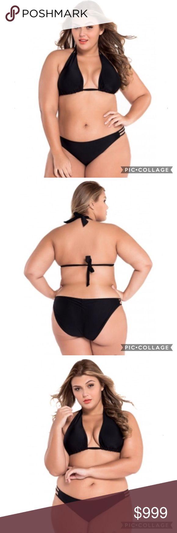 ✨JUST IN✨ Plus size sexy bikini top and bottom BRAND NEW Plus Size Sexy black Bikini top and bottom! Halter style top! Has open cut strips on the sides of the bottoms! Very Sexy!  Swim Bikinis
