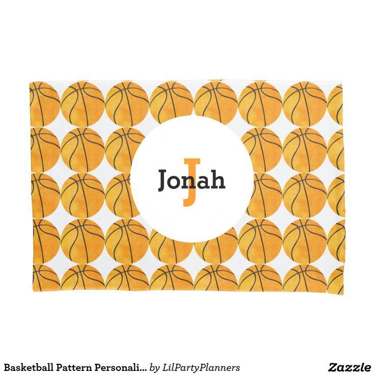 Basketball Pattern Personalized Unique Kids Orange Pillow Case