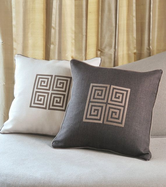 GREEK KEY embroidered pillow covers by letsdecorateonline on Etsy, $35.40