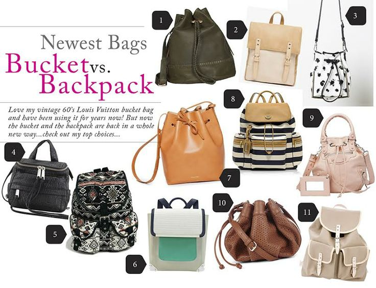 Bucket bags vs. backpack by guest blogger Lynda. Visit www.forarealwoman.com #bags #trends #chanel