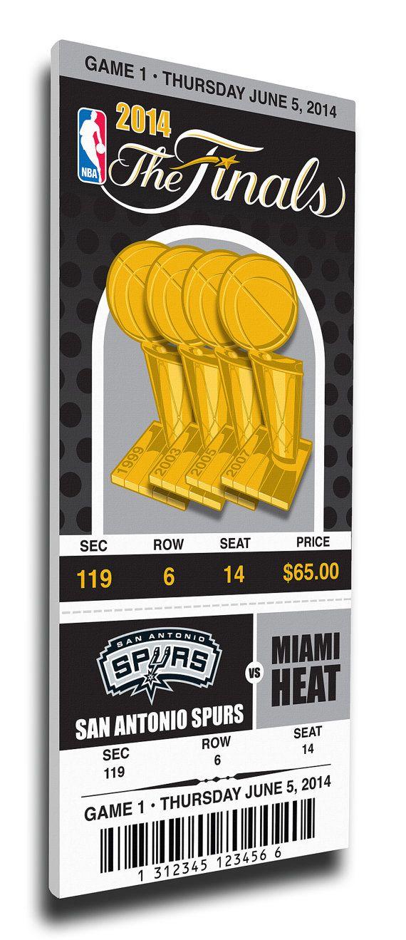 2014 NBA Finals Game 1 Commemorative Canvas Mega Ticket - San Antonio Spurs