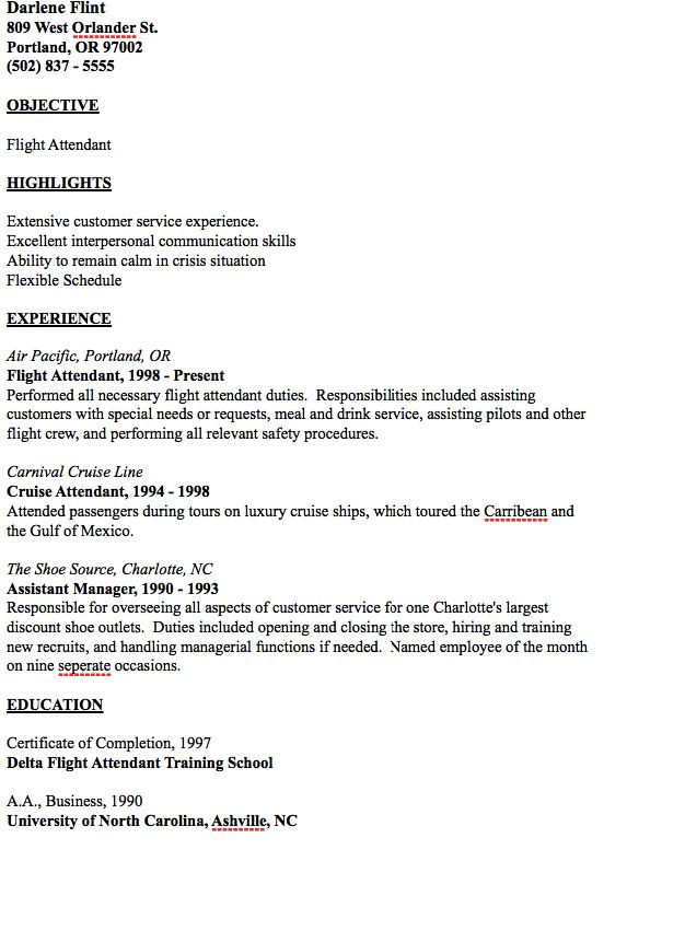example of flight attendant resume  with images