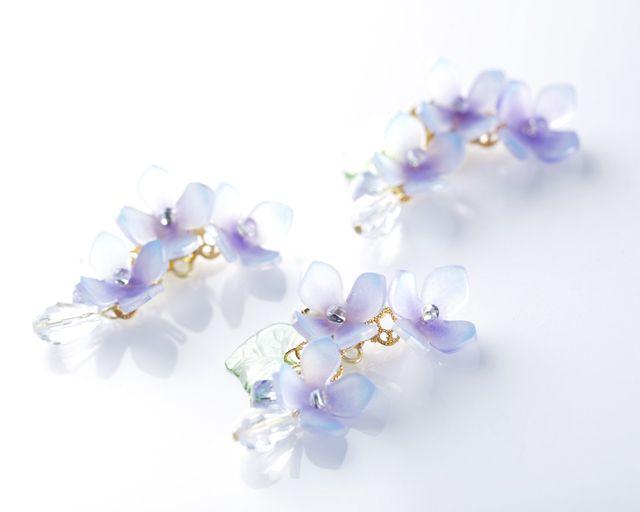 2色紫陽花(あじさい)のイヤーカフ 青紫