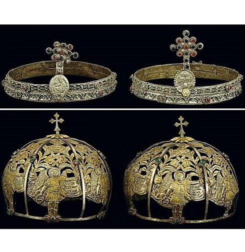 Two pairs of marriage crowns from the Pontos region.  'Rum' (Anatolian Greek), 19th century. Top: With filigree green enamel and imitation precious gems.  Probably made in Saframpolis/Safranbolu.  18 cm diameter. Bottom: From the church of St. Stephanos at Saframpolis/Safranbolu.  Made by the local craftsman Hadji Konstantinos.  Dated 1855.  Dedicated by Elisabeth & Stephanos Matentzioglou.  18 cm diameter.  (Both: Benaki Museum, Athens).