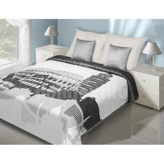Bielo sivý prehoz na posteľ vzor pamiatky