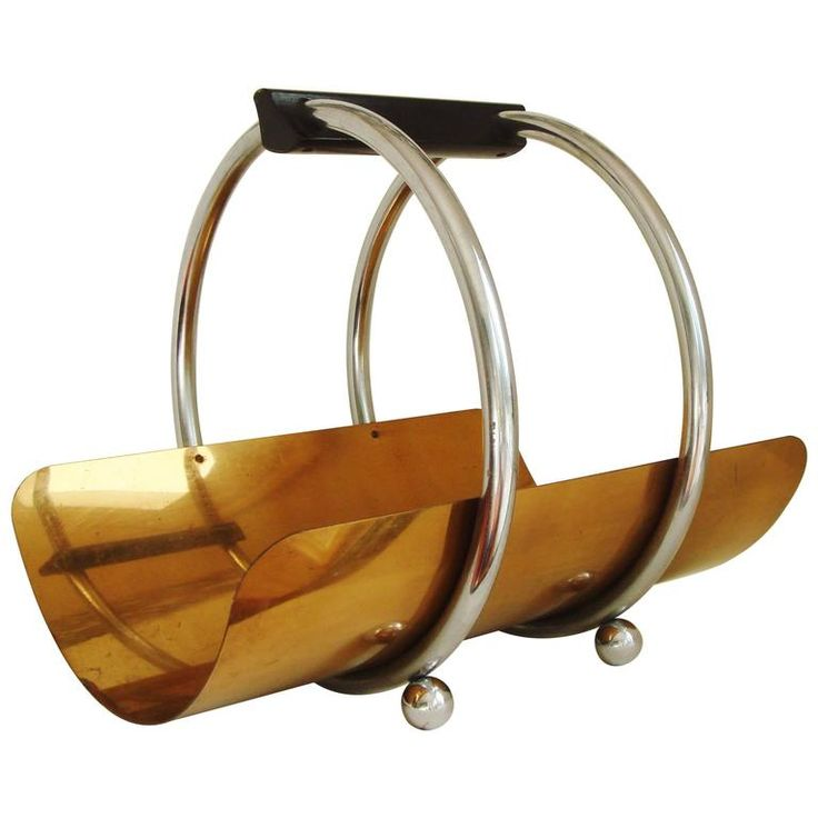 American Art Deco Chrome, Bronze and Wood Log Holder/Magazine Rack by Revere | From a unique collection of antique and modern magazine racks and stands at https://www.1stdibs.com/furniture/more-furniture-collectibles/magazine-racks-stands/