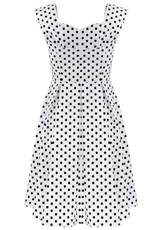 d5f25b29392 DaysCloth White Polka Dot Pleated Boat Neck Fashion Midi Dress ...