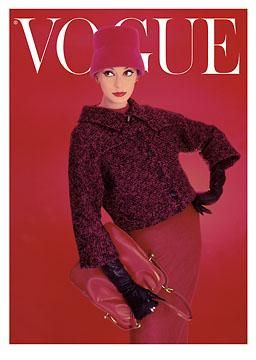 Vintage Vogue cover: Red Rose, August 1956