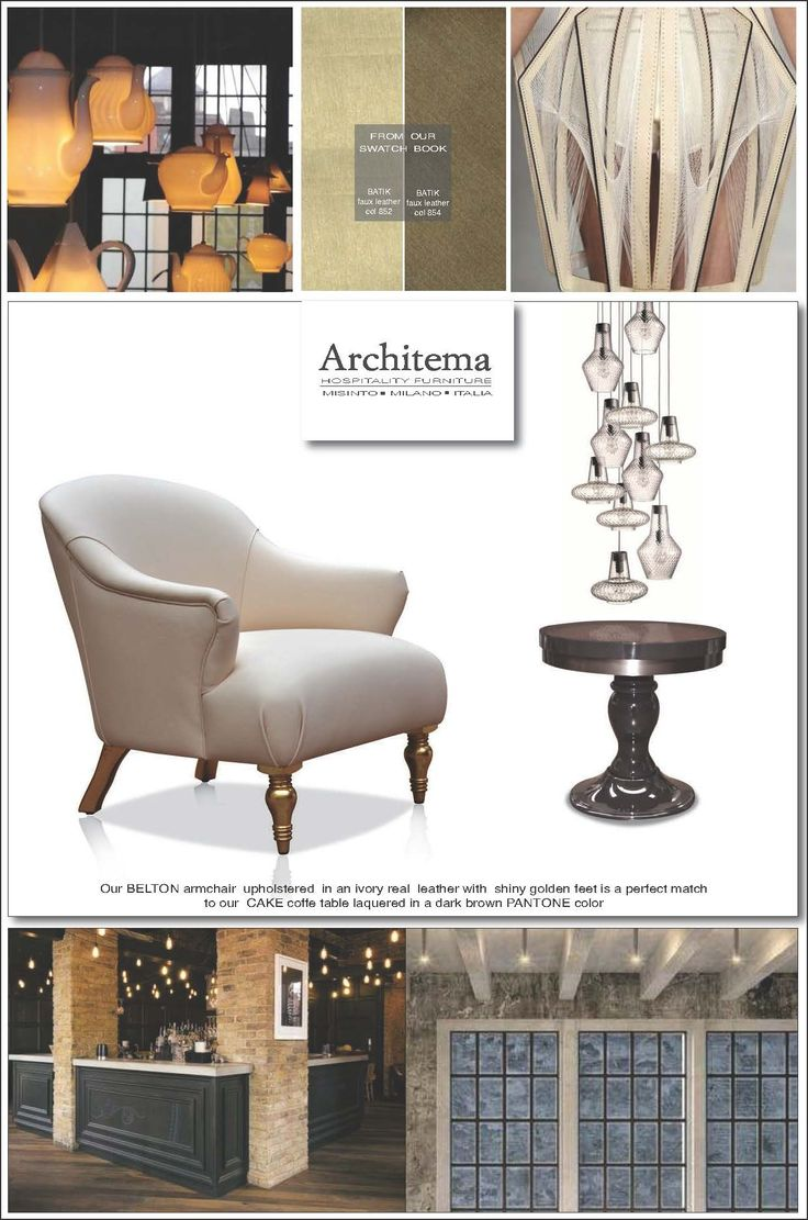 ARCHITEMA HOSPITALITY FURNITURE - Our BELTON armchair  upholstered  in an ivory real  leather with  shiny golden feet is a perfect match to our  CAKE coffee table laquered in a dark brown PANTONE color