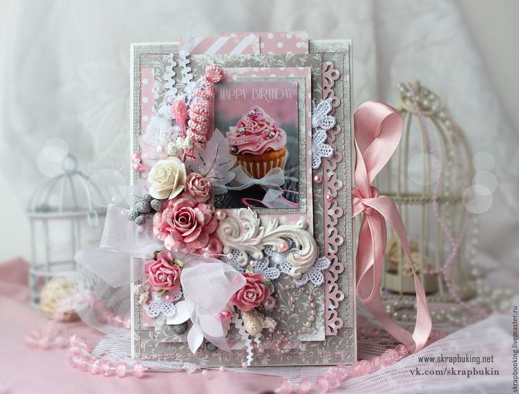 Купить Поздравительная открытка - бледно-розовый, открытка, Открытка ручной работы, открытка на заказ