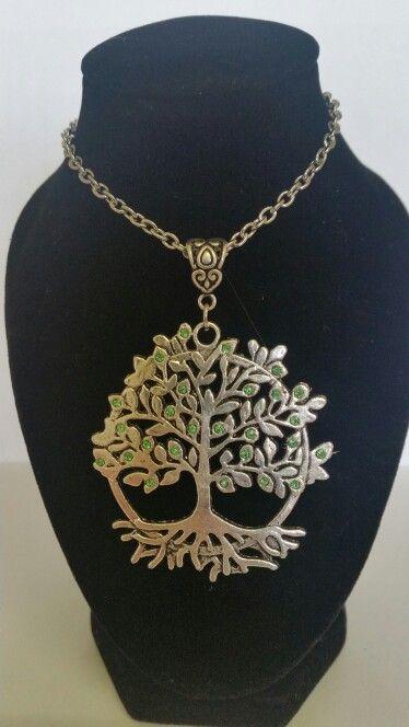 Tree of life pendant necklace. Light green rhinestones. AUS $ 14.00