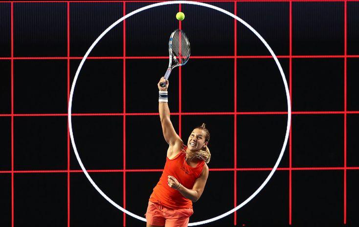 Dominika Cibulkova serves the ball during an Australian Open practice session on Monday, January 13.