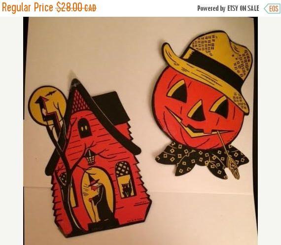 On Sale Vintage 1960s Halloween Black Orange Yellow H E LUHRS
