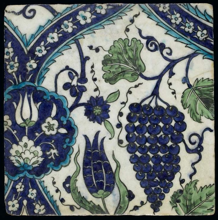Maker:    Unknown; potter    Category:    fritware (stonepaste)    Name(s):    tile  Islamic pottery; category  Iznik; category    Other Name:    Part of tile panel (C.4-1928)    Date:    circa 1574 — circa 1599    School/Style:    Ottoman    Period:    late 16th Century