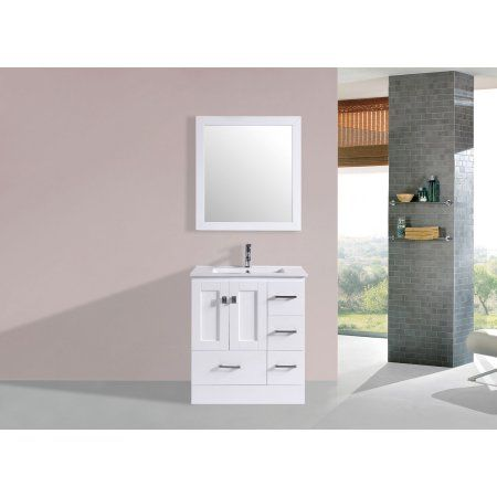 30 inch Redondo White Single Modern Bathroom Vanity with Integrated Sink  and Mirror   Right. 17 best ideas about 30 Inch Bathroom Vanity on Pinterest   30 inch