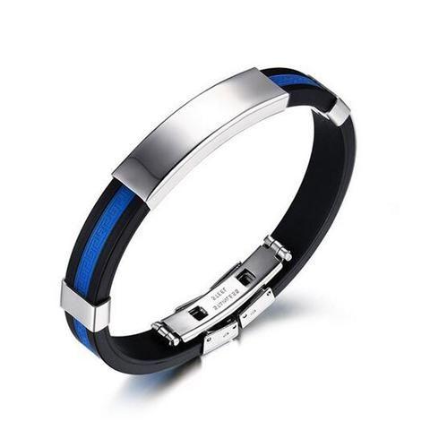 stainless steel bracelet fashion USA Police policeman blue silicone br – ROSalarsJewelry