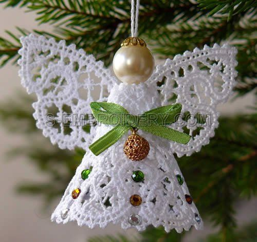 lace angel ornaments | Christmas angel Battenburg lace machine embroidery - SKU10489