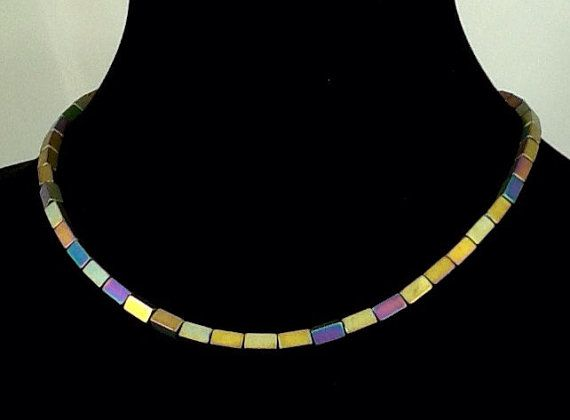18 Inch Necklace of Multi Luster Hematite by PebblesAndTwiggs