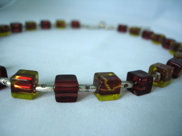 Topas-Brown- Cubes Necklace - Acrylic Beads - Olive-greeen cube beads