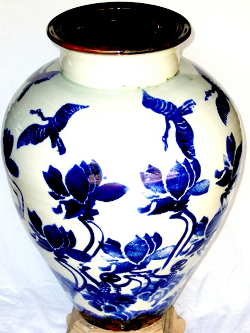 Blue and white stoneware blossom Jar.
