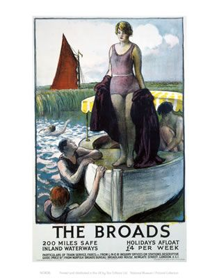 The Broads Girl standing on boat