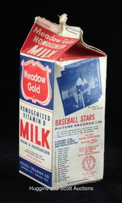 1964 Meadow Gold Milk Carton With Full Baseball Panel