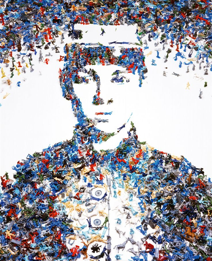 """Great art portrait: """"Toy soldier"""" by Vik Muniz. Made out of toy soldiers."""