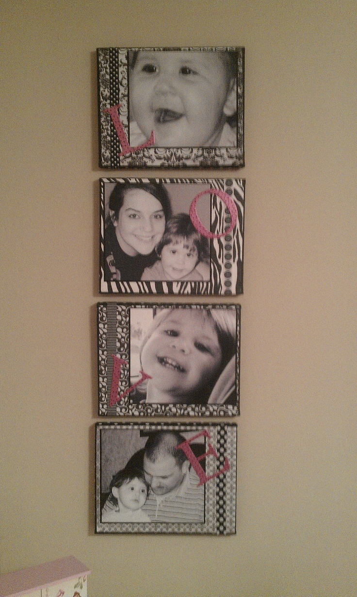 Pinner made this with canvases, scrapbook paper, ribbon, and photos.